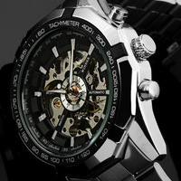 Brand Stainless Steel Steampunk Analog Display Watch Mens Automatic Mechanical Military Watches