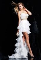 Best Design Hot Fashion Strapless Chic Beadings Layered Elegant White Chiffon High Low Evening Dress 2013