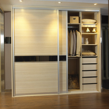 2013 hot sales cheap bedroom wooden wardrobe closet sliding or hinge wardrobe cabinet melamine chipboard wardrobe
