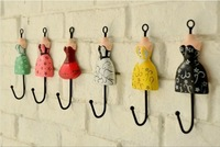 Free Shipping! 6pcs/lot Vintage Style Princess dress Iron Hook Wall Hanger Rural Home Decoration