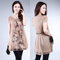 2013 summer loose plus size middle-age women medium-long top female short-sleeve o-neck chiffon shirt