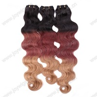 Three colours tones 100% brazilian virgin hair extensions human hair weft