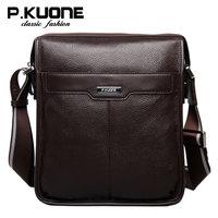P.kuone luxury genuine leather bag men messenger bags brand bolsos business male shoulder bag vintage men bag small bolsas