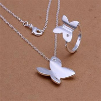 S348 925 silver jewelry set, fashion jewelry set Smooth Butterfly Ring Necklace Jewelry Set
