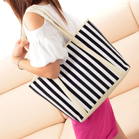 Navy style stripe canvas bag shoulder bag casual all-match fashion women's handbag bag vintage bag women's handbag