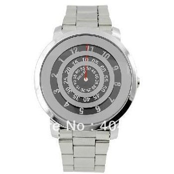 2013 New Silver Metal Iron Quartz Wrist Watch Black Turntable Dial Digital Boy Mens