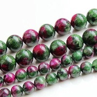 Free shipping AAA+ DIY 6mm 8mm 10mm 12mm red and green Epidote Anyolite smooth Round spacer loose beads wholesale 200pcs/lot