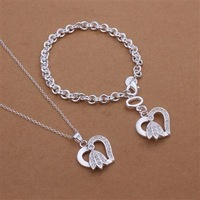 S360 925 silver jewelry set, fashion jewelry set bracelet necklace Jewelry Set