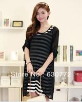 Maternity dress 2013 spring and summer women's new Korean Women Striped chiffon two-piece women's large size