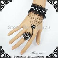 Wholesales Lady's Handmade Retro Black Lace Bangle Bracelet Floral Bracelets Slave Finger Band Fashion Amazing Christmas Gift