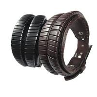 New Men's Fashion jewelry genuine Leather wrap width adjustable handcraft knit weave bracelet Bangle