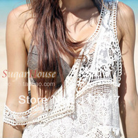 Charming princess wind lace crochet on vacation beach dress shirt one-piece dress white