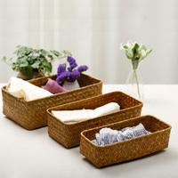 Handmade straw braid storage basket storage basket desktop storage box small storage box