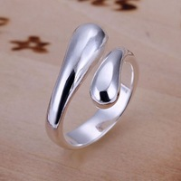 Vintage fashion 925 silver ring brief and elegant double round toe opening lovers ring