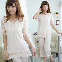 Summer women's solid color modal sleepwear short sleeve length pants simple elegant oversized ,Free shipping