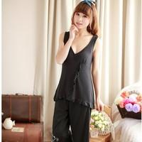 Plus size women's sleepwear black modal top 100% cotton capris sexy V-neck lounge