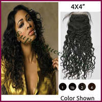 Free Shipping Natural Color curly Peruvian virgin Human Hair Lace Top Closure Piece 4*4'' size