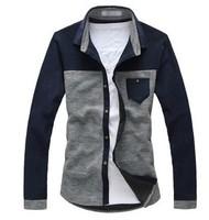 2013 New Autumn Korean Style Men's Casual Slim Long Sleeve Cotton Shirts Free Shipping LJ685