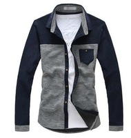 2013 New Autumn Korean Style Men's Casual Slim Long Sleeve Cotton Shirts Free Shipping LJ685