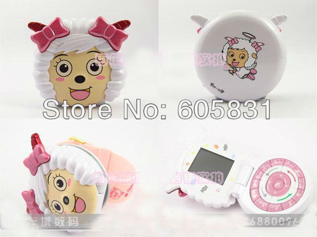 Lovely unlocked Fashion Cartoon Mobile phone for children single SIM Camera watch cell phone lamb joy Flip style Free shipping(China (Mainland))