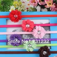 2013 fashion flower headband elastic headband Girls Hair Accessories with Artificial diamond 12pcs/lot free shipping
