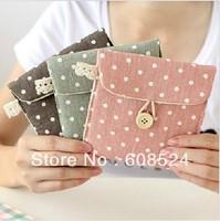 Free shipping  fluid fabric polka dot cion bag korean style coin pouch coin purse/wallet wholesale