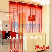 2Pcs/Lot New 300cm*300cm String Curtain, String Panel, Fringe Panel, Room Divider Wedding Drapery Red 16633
