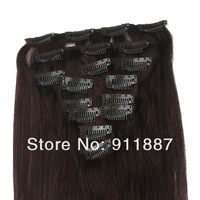 "15""18""20""22""24"" Clip In Remy Real Human Hair Extensions 8Pcs DIY Red Wine #99J"