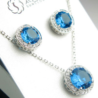 3 pics/S027/ Wholesale,Light Blue Round Crystal ,18k White Gold Plated Set ,brand design18k Gold set factory price,FREE SHIPPING