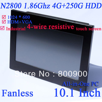 Embeded fanless touchscreen all-in-one computer pc with Intel Atom Dual core N2800 1.86Ghz 4G RAM 250G HDD 10.1 inch