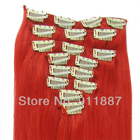"15""18""20""22""24"" Clip In Remy Real Human Hair Extensions 8Pcs DIY #RED"
