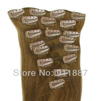 "15""18""20""22""24"" Clip In Remy Real Human Hair Extensions 8Pcs DIY Light Brown #6"