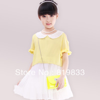 lace collar fresh child princess strapless chiffon one-piece dress children's clothing medium-large female child,FREE SHIPPING