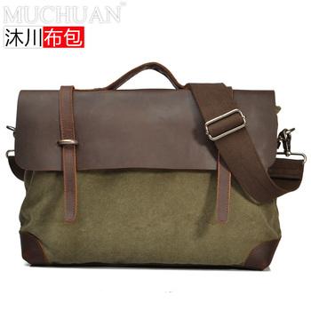 vintage casual canvas shoulder bag Cow leather messenger bag men boy military briefcase handbag laptop school totes bag