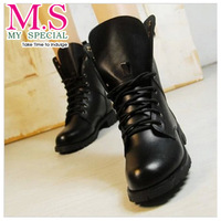 2013 free shipping woman and flat leather ankle boots and boots, military boots scooter riders XZ1041