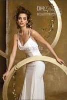 Wholesale - 2012 Fashionable Simple Sling Straight Brosh Train Backless Ruffle White Wedding Dress Wedding Gowns