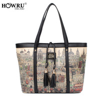 New arrival 2013 women's handbag fashion cartoon print tassel one shoulder handbag women's handbag