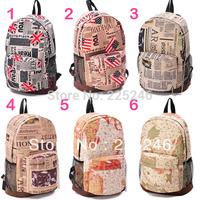 Free shipping Vintage Student School Bag Adult Backpack Satchel Rucksack USA UK Newspaper Map  JX0185 DropShipping
