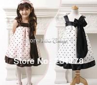 278 Wholesales girl dress kids dresses Sling Princess Dress - Princess dot with bow dress free shipping