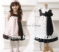 Wholesales girl dress kids dresses Sling Princess Dress - Princess dot with bow dress free shipping278