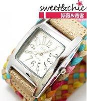 Free shipping-New sweet style lady fashion Hand-woven woman watch