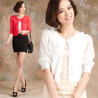 Thin sweater chiffon three quarter sleeve small cape short design cardigan air conditioning shirt coat female