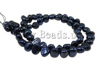 Free Shipping 14inch Baroque Cultured Freshwater Pearl Beads Fit For Shamballa Bracelet & Necklace  7-8mm, Hole:Approx 0.8mm DIY