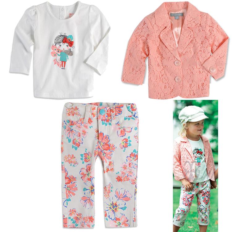 New fashion design children's autumn lace pink outerwear + cartoon cotton long sleeve white top + flower pants set girls wear(China (Mainland))