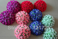 4pcs/lot 38cm Artificial Silk Rose Hanging Flower Balls For Wedding Decoration