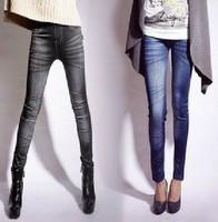 Wholesale2014 Sexy Black Women's Fashion False Jeans Skinny Seamless Leggings/Skinny Pants Drop Shipping