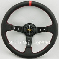 New Arrival: OMP Steering Wheel PVC with Carbon Fiber Cover / OMP PVC Steering Wheel Deep Dish Red Stitch