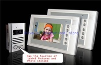 "Free shipping 7""TFT-LCD  wired color video door phone 1 V 2 with function of taking pictures automatically / door unlocking"