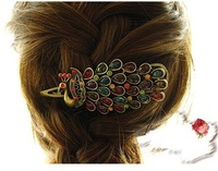 Min.order is $10(mix order) New Year Gift Colorful Vintage Hairclips Crystal Peacock Hair Clip Hairpin Barrettes hairwear TS040
