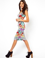 Free shipping European and American elegant and generous fashion printing temperament Slim Dress CT6304
